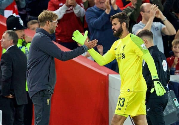 LIVERPOOL, ENGLAND - Tuesday, August 7, 2018: Liverpool's new signing goalkeeper Alisson Becker shakes hands with manager Jürgen Klopp as he is substituted during the preseason friendly match between Liverpool FC and Torino FC at Anfield. (Pic by David Rawcliffe/Propaganda)