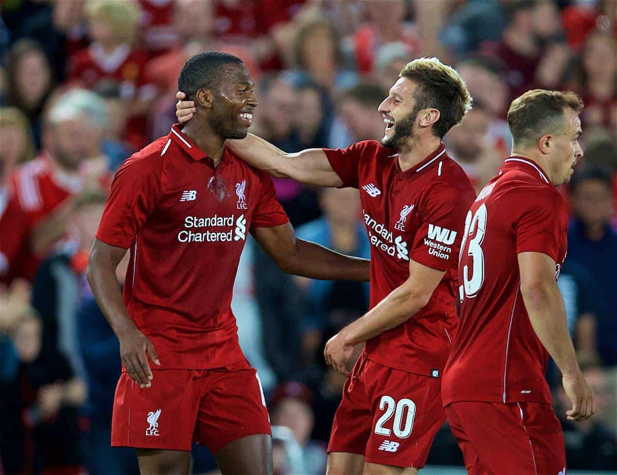 LIVERPOOL, ENGLAND - Tuesday, August 7, 2018: Liverpool's Daniel Sturridge celebrates scoring the third goal with team-mate Adam Lallana during the preseason friendly match between Liverpool FC and Torino FC at Anfield. (Pic by David Rawcliffe/Propaganda)