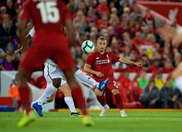 LIVERPOOL, ENGLAND - Tuesday, August 7, 2018: Liverpool's new signing Xherdan Shaqiri sets-up the third goal during the preseason friendly match between Liverpool FC and Torino FC at Anfield. (Pic by David Rawcliffe/Propaganda)