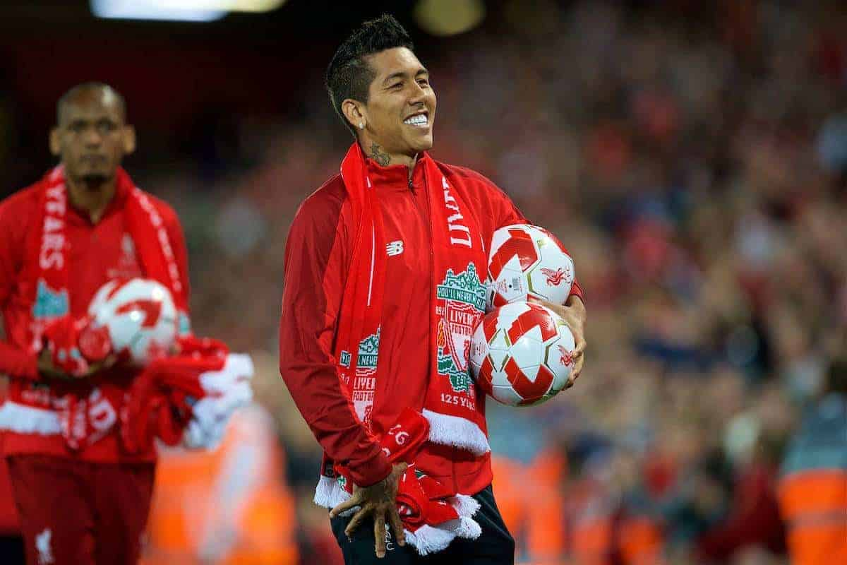 LIVERPOOL, ENGLAND - Tuesday, August 7, 2018: Liverpool's Roberto Firmino hands out balls and scarves top supporters after the preseason friendly match between Liverpool FC and Torino FC at Anfield. (Pic by David Rawcliffe/Propaganda)