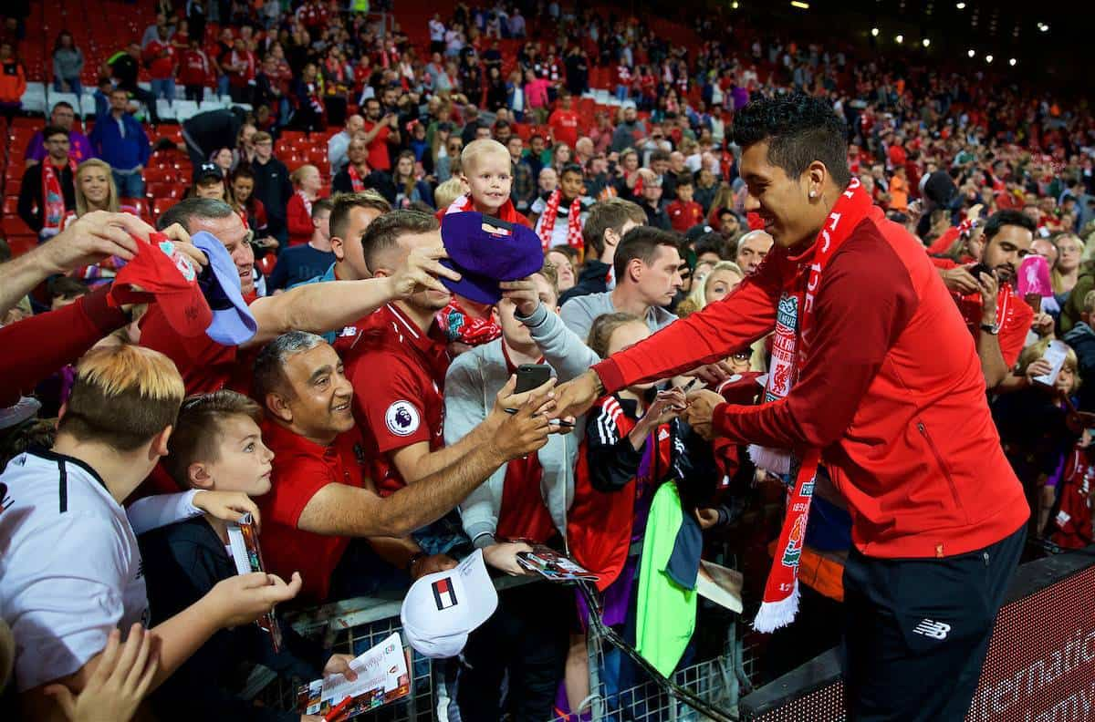 LIVERPOOL, ENGLAND - Tuesday, August 7, 2018: Liverpool's Roberto Firmino signs autographs for supporters after the preseason friendly match between Liverpool FC and Torino FC at Anfield. (Pic by David Rawcliffe/Propaganda)