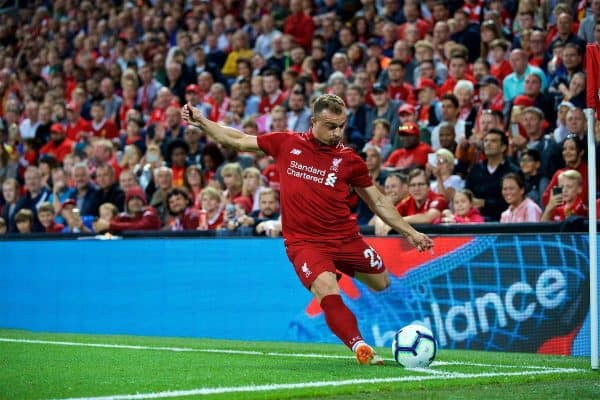 LIVERPOOL, ENGLAND - Tuesday, August 7, 2018: Liverpool's new signing Xherdan Shaqiri takes a corner kick during the preseason friendly match between Liverpool FC and Torino FC at Anfield. (Pic by David Rawcliffe/Propaganda)