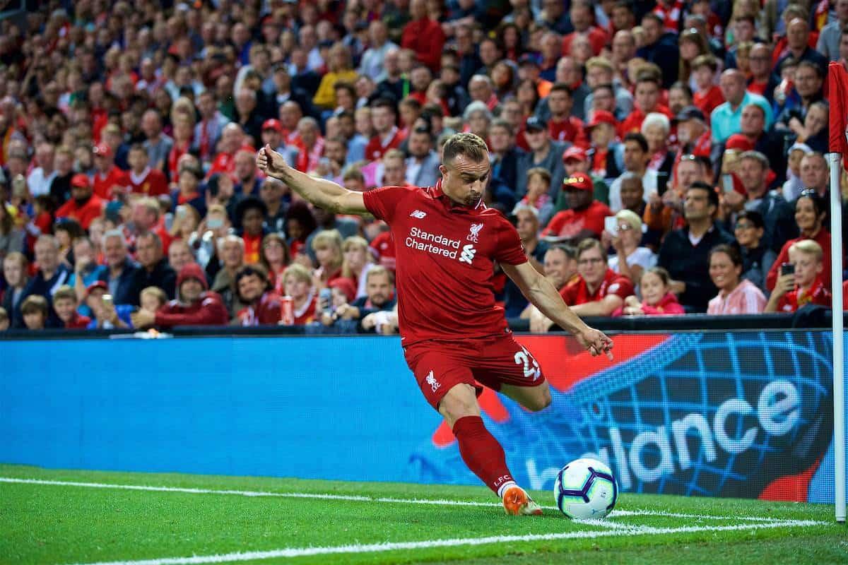 LIVERPOOL, ENGLAND - Tuesday, August 7, 2018: Liverpool's new signing Xherdan Shaqiri takes a corner kick during the preseason friendly match between Liverpool FC and Torino FC at Anfield. (Pic by David Rawcliffe/Propaganda)