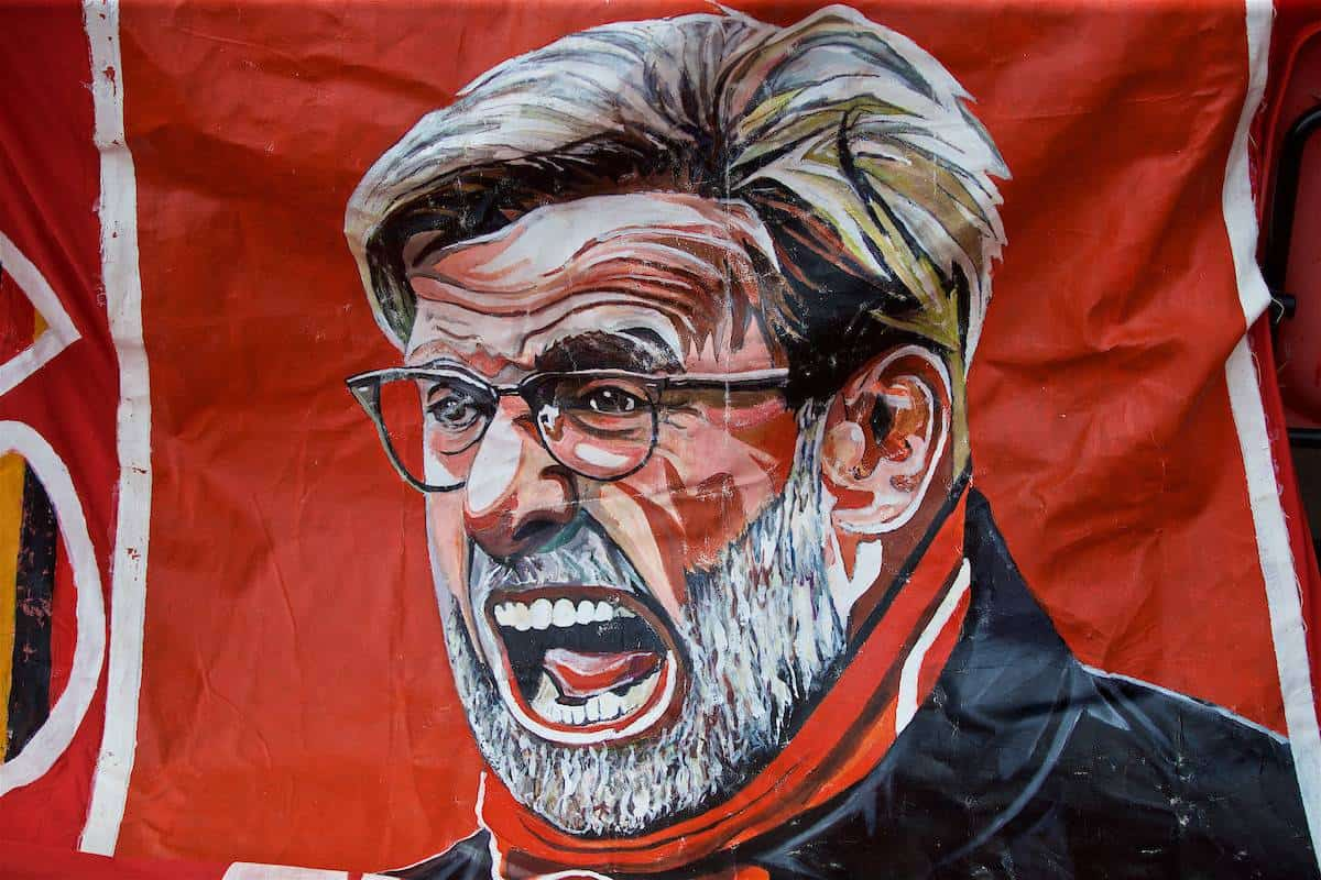 LIVERPOOL, ENGLAND - Sunday, August 12, 2018: A Liverpool supporter's image of manager Jürgen Klopp before the FA Premier League match between Liverpool FC and West Ham United FC at Anfield. (Pic by David Rawcliffe/Propaganda)