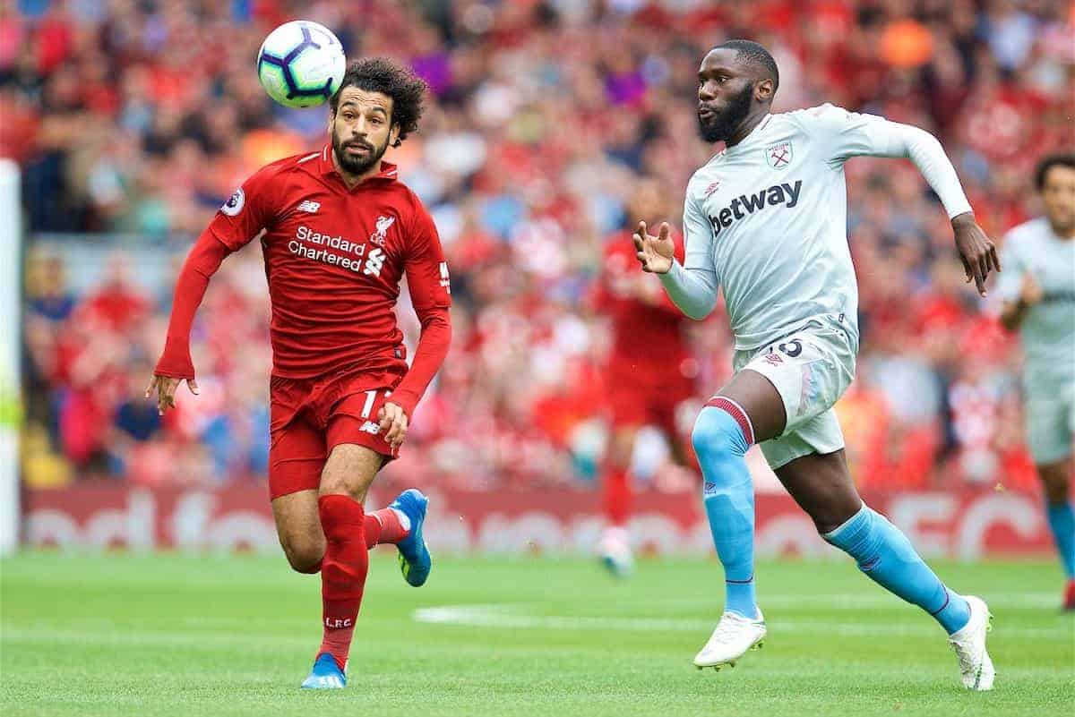 LIVERPOOL, ENGLAND - Sunday, August 12, 2018: Liverpool's Mohamed Salah during the FA Premier League match between Liverpool FC and West Ham United FC at Anfield. (Pic by David Rawcliffe/Propaganda)