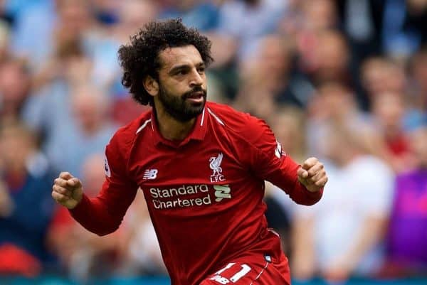 LIVERPOOL, ENGLAND - Sunday, August 12, 2018: Liverpool's Mohamed Salah celebrates scoring the first goal during the FA Premier League match between Liverpool FC and West Ham United FC at Anfield. (Pic by David Rawcliffe/Propaganda)