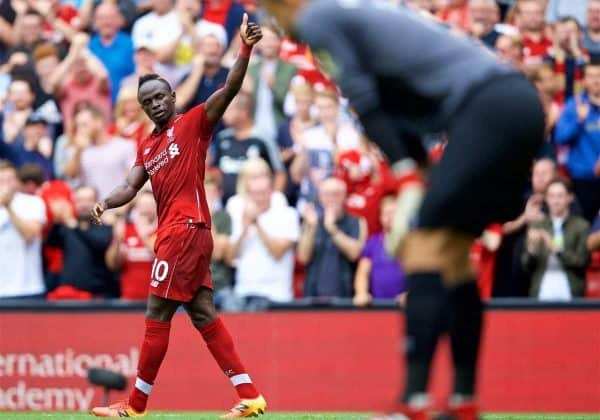 LIVERPOOL, ENGLAND - Sunday, August 12, 2018: Liverpool's Sadio Mane celebrates scoring the second goal during the FA Premier League match between Liverpool FC and West Ham United FC at Anfield. (Pic by David Rawcliffe/Propaganda)