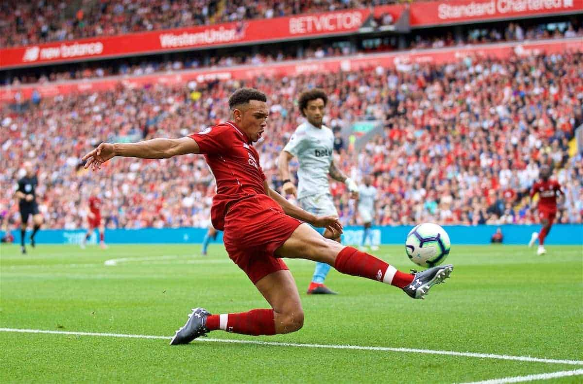 LIVERPOOL, ENGLAND - Sunday, August 12, 2018: Liverpool's Trent Alexander-Arnold during the FA Premier League match between Liverpool FC and West Ham United FC at Anfield. (Pic by David Rawcliffe/Propaganda)