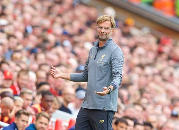 LIVERPOOL, ENGLAND - Sunday, August 12, 2018: Liverpool's manager Jürgen Klopp reacts during the FA Premier League match between Liverpool FC and West Ham United FC at Anfield. (Pic by David Rawcliffe/Propaganda)