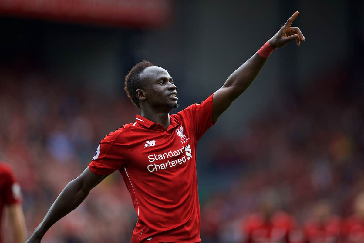 LIVERPOOL, ENGLAND - Sunday, August 12, 2018: Liverpool's Sadio Mane celebrates scoring the third goal during the FA Premier League match between Liverpool FC and West Ham United FC at Anfield. (Pic by David Rawcliffe/Propaganda)