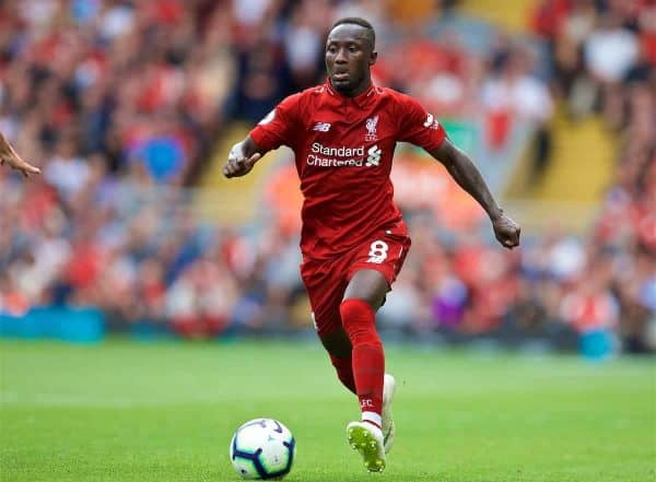 Liverpool's Naby Keita during the FA Premier League match between Liverpool FC and West Ham United FC at Anfield. (Pic by David Rawcliffe/Propaganda)