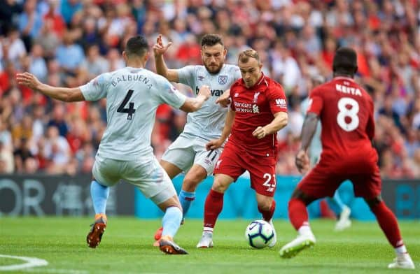 LIVERPOOL, ENGLAND - Sunday, August 12, 2018: Liverpool's Xherdan Shaqiri during the FA Premier League match between Liverpool FC and West Ham United FC at Anfield. (Pic by David Rawcliffe/Propaganda)