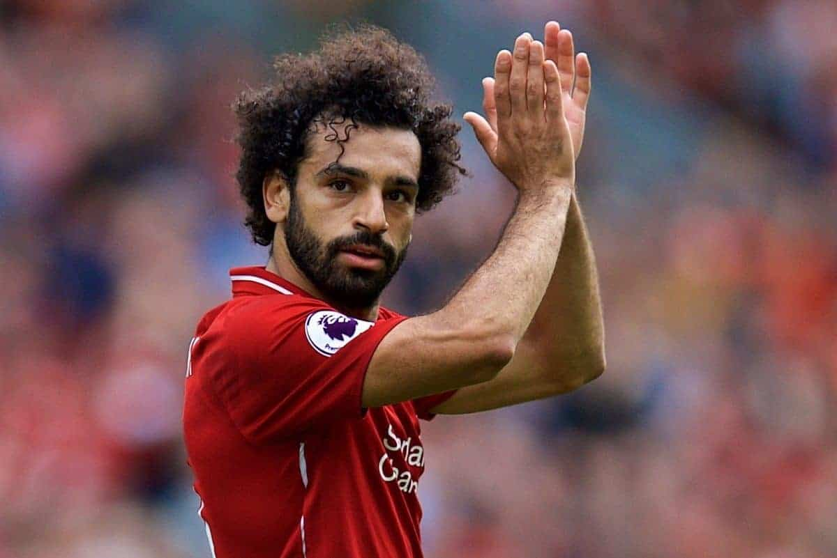 LIVERPOOL, ENGLAND - Sunday, August 12, 2018: Liverpool's Mohamed Salah applauds the supporters as he is substituted during the FA Premier League match between Liverpool FC and West Ham United FC at Anfield. (Pic by David Rawcliffe/Propaganda)