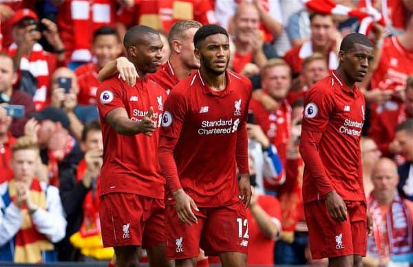 LIVERPOOL, ENGLAND - Sunday, August 12, 2018: Liverpool's Daniel Sturridge (left) celebrates scoring the fourth goal during the FA Premier League match between Liverpool FC and West Ham United FC at Anfield. (Pic by David Rawcliffe/Propaganda)