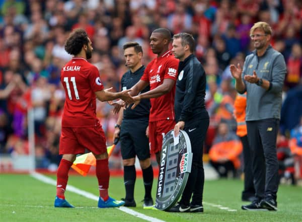 LIVERPOOL, ENGLAND - Sunday, August 12, 2018: Liverpool's Mohamed Salah is replaced by substitute Daniel Sturridge during the FA Premier League match between Liverpool FC and West Ham United FC at Anfield. (Pic by David Rawcliffe/Propaganda)