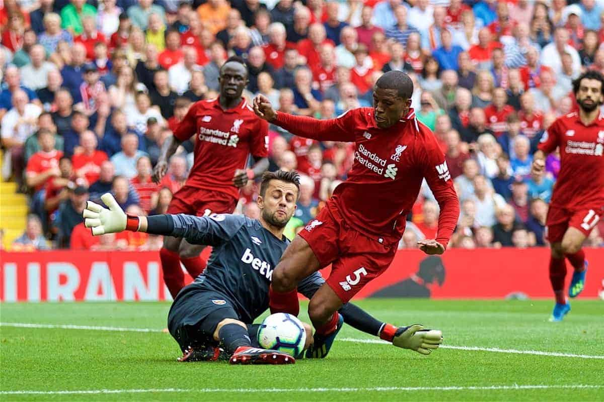 LIVERPOOL, ENGLAND - Sunday, August 12, 2018: Liverpool's Georginio Wijnaldum and West Ham United's goalkeeper Lukasz Fabia?ski during the FA Premier League match between Liverpool FC and West Ham United FC at Anfield. (Pic by David Rawcliffe/Propaganda)