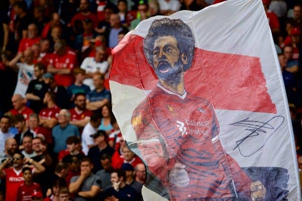 LIVERPOOL, ENGLAND - Sunday, August 12, 2018: A Liverpool supporter's flag featuring Mohamed Salah during the FA Premier League match between Liverpool FC and West Ham United FC at Anfield. (Pic by David Rawcliffe/Propaganda)