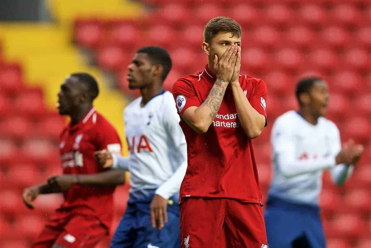 LIVERPOOL, ENGLAND - Friday, August 17, 2018: Liverpool's Adam Lewis missing a penalty kick during the Under-23 FA Premier League 2 Division 1 match between Liverpool FC and Tottenham Hotspur FC at Anfield. (Pic by David Rawcliffe/Propaganda)