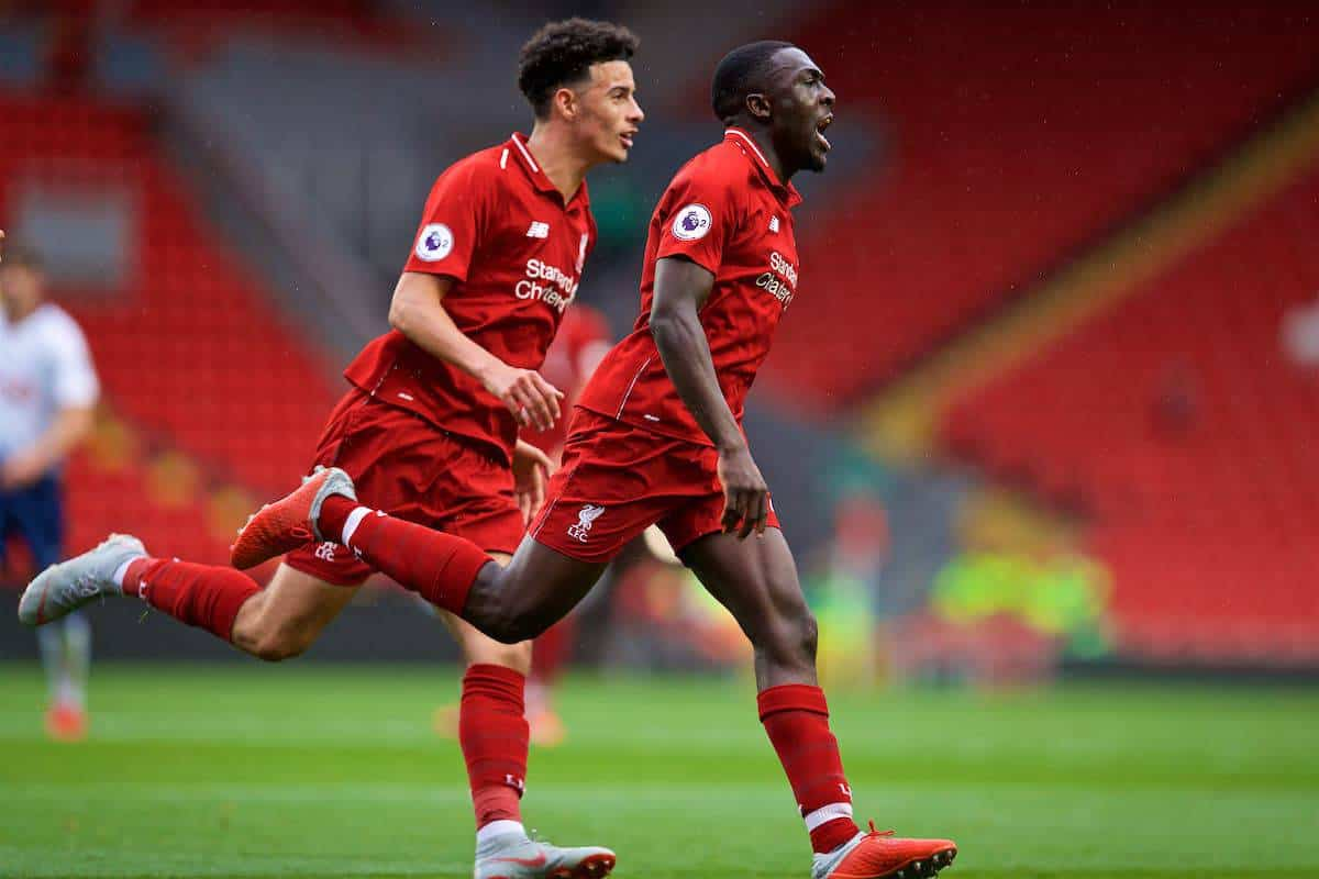 LIVERPOOL, ENGLAND - Friday, August 17, 2018: Liverpool's Bobby Adekanye celebrates scoring the first goal during the Under-23 FA Premier League 2 Division 1 match between Liverpool FC and Tottenham Hotspur FC at Anfield. (Pic by David Rawcliffe/Propaganda)