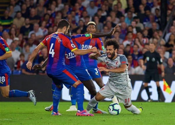 LONDON, ENGLAND - Monday, August 20, 2018: Liverpool's Mohamed Salah is brought down for a penalty during the FA Premier League match between Crystal Palace and Liverpool FC at Selhurst Park. (Pic by David Rawcliffe/Propaganda)