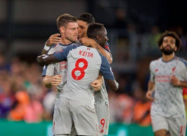 LONDON, ENGLAND - Monday, August 20, 2018: Liverpool's James Milner celebrates scoring the first goal from a penalty kick with team-mate Roberto Firmino (centre) and Naby Keita (right) during the FA Premier League match between Crystal Palace and Liverpool FC at Selhurst Park. (Pic by David Rawcliffe/Propaganda)