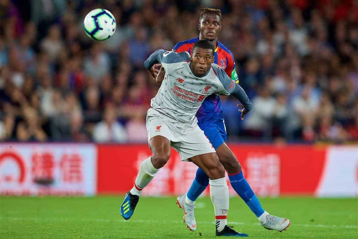 LONDON, ENGLAND - Monday, August 20, 2018: Liverpool's Georginio Wijnaldum during the FA Premier League match between Crystal Palace and Liverpool FC at Selhurst Park. (Pic by David Rawcliffe/Propaganda)
