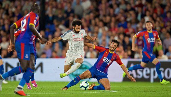 LONDON, ENGLAND - Monday, August 20, 2018: Liverpool's Mohamed Salah and Crystal Palace's James Tomkins during the FA Premier League match between Crystal Palace and Liverpool FC at Selhurst Park. (Pic by David Rawcliffe/Propaganda)