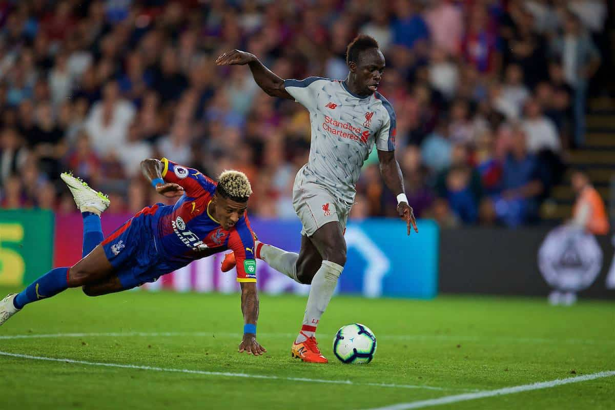 LONDON, ENGLAND - Monday, August 20, 2018: Liverpool's Sadio Mane on his way to scoring the second goal during the FA Premier League match between Crystal Palace and Liverpool FC at Selhurst Park. (Pic by David Rawcliffe/Propaganda)
