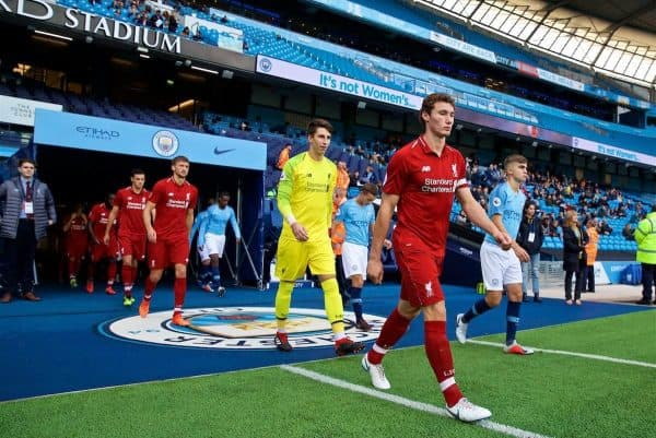 MANCHESTER, ENGLAND - Friday, August 24, 2018: Liverpool's captain Matty Virtue leads his team out before the Under-23 FA Premier League 2 Division 1 match between Manchester City FC and Liverpool FC at the City of Manchester Stadium. (Pic by David Rawcliffe/Propaganda)