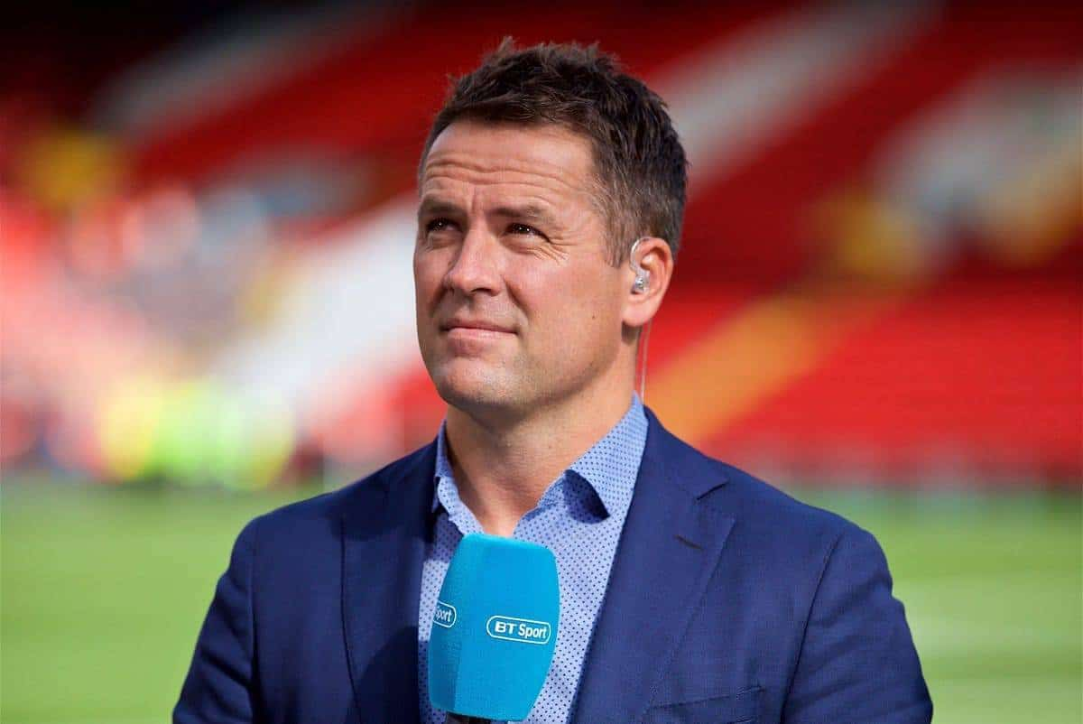 LIVERPOOL, ENGLAND - Saturday, August 25, 2018: Former Liverpool player Michael Owen working for BT Sport before the FA Premier League match between Liverpool FC and Brighton & Hove Albion FC at Anfield. (Pic by David Rawcliffe/Propaganda)