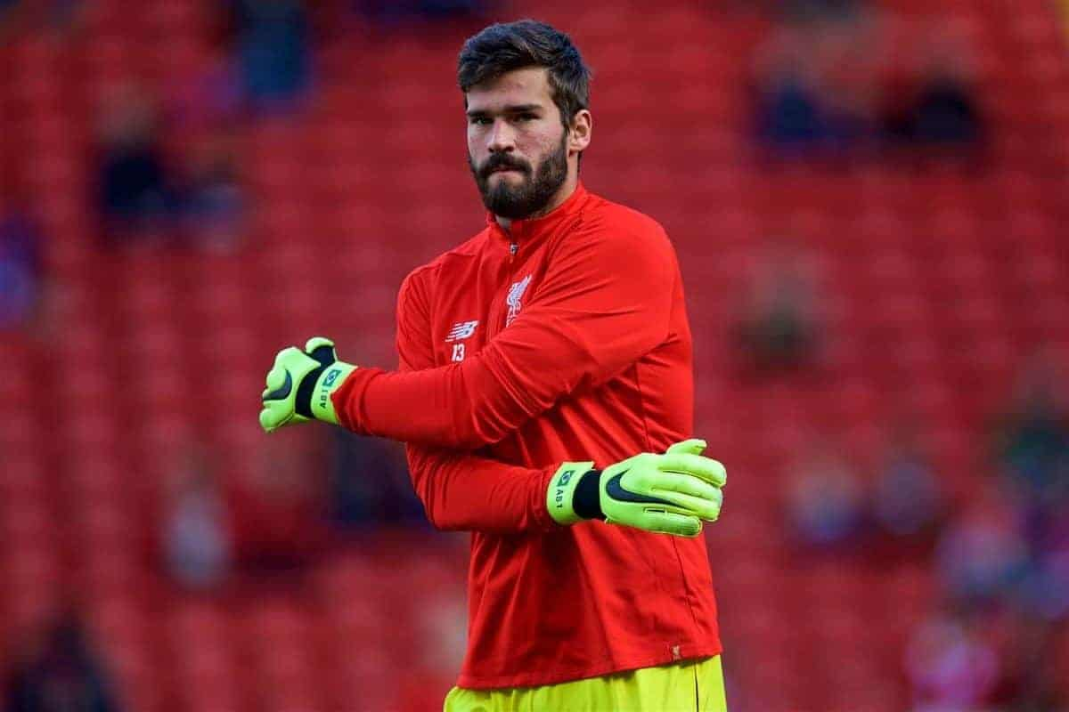 LIVERPOOL, ENGLAND - Saturday, August 25, 2018: Liverpool's goalkeeper Alisson Becker during the pre-match warm-up before the FA Premier League match between Liverpool FC and Brighton & Hove Albion FC at Anfield. (Pic by David Rawcliffe/Propaganda)