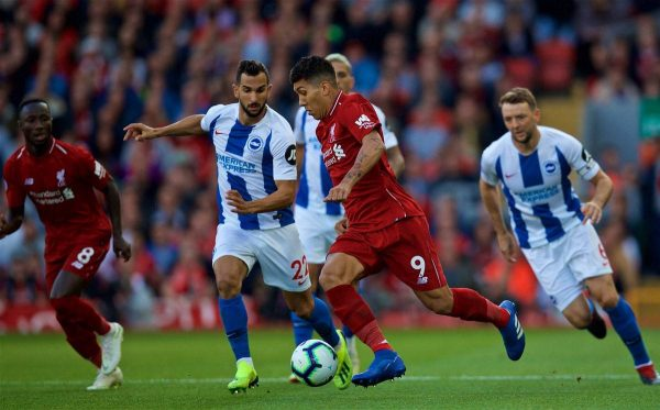 Brighton & Hove Albion's MartÌn Montoya (left) and Liverpool's Roberto Firmino (right) during the FA Premier League match between Liverpool FC and Brighton & Hove Albion FC at Anfield. (Pic by David Rawcliffe/Propaganda)