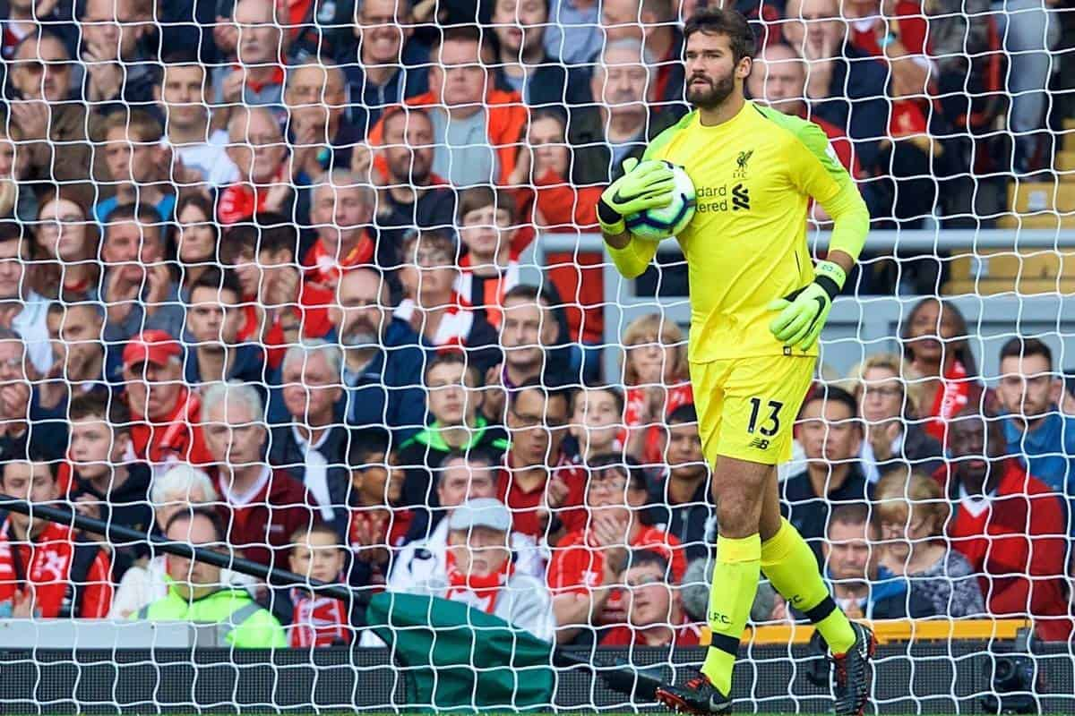 Liverpool's goalkeeper Alisson Becker during the FA Premier League match between Liverpool FC and Brighton & Hove Albion FC at Anfield. (Pic by David Rawcliffe/Propaganda)