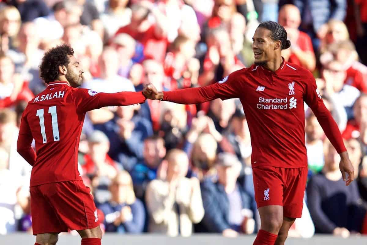 LIVERPOOL, ENGLAND - Saturday, August 25, 2018: Liverpool's Mohamed Salah celebrates scoring the first goal with team-mate Virgil van Dijk (right) during the FA Premier League match between Liverpool FC and Brighton & Hove Albion FC at Anfield. (Pic by David Rawcliffe/Propaganda)