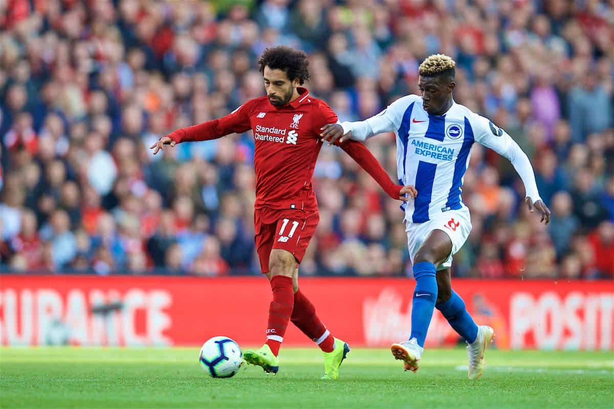 LIVERPOOL, ENGLAND - Saturday, August 25, 2018: Liverpool's Mohamed Salah (left) and Brighton & Hove Albion's Yves Bissouma (right) during the FA Premier League match between Liverpool FC and Brighton & Hove Albion FC at Anfield. (Pic by David Rawcliffe/Propaganda)