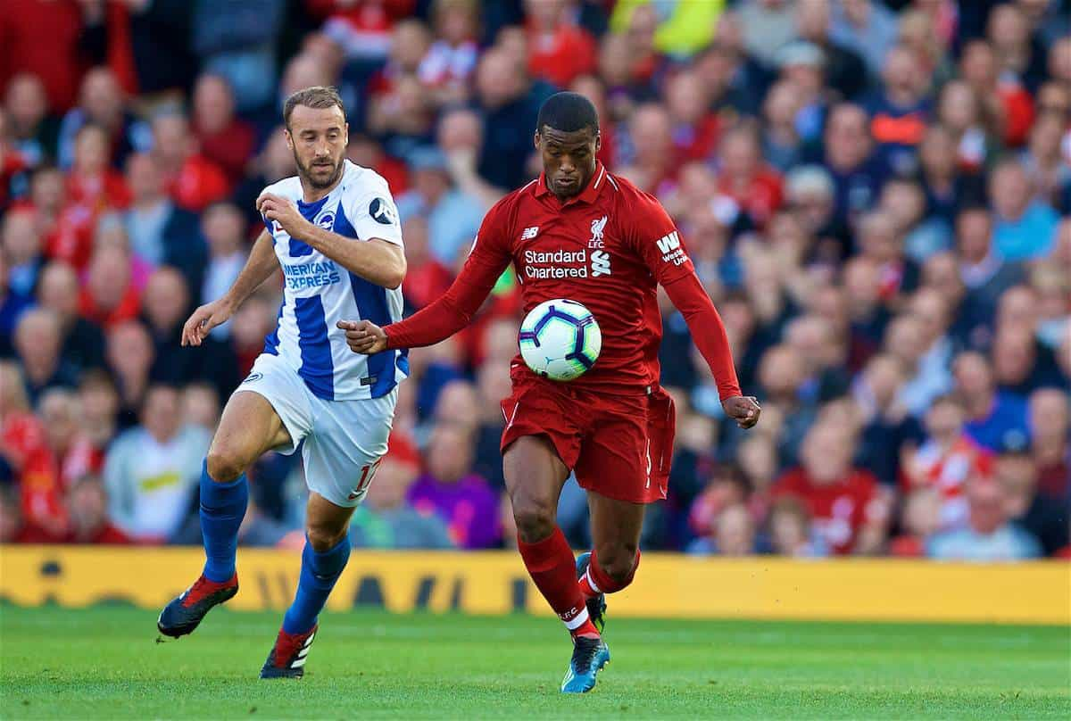 LIVERPOOL, ENGLAND - Saturday, August 25, 2018: Liverpool's Georginio Wijnaldum during the FA Premier League match between Liverpool FC and Brighton & Hove Albion FC at Anfield. (Pic by David Rawcliffe/Propaganda)