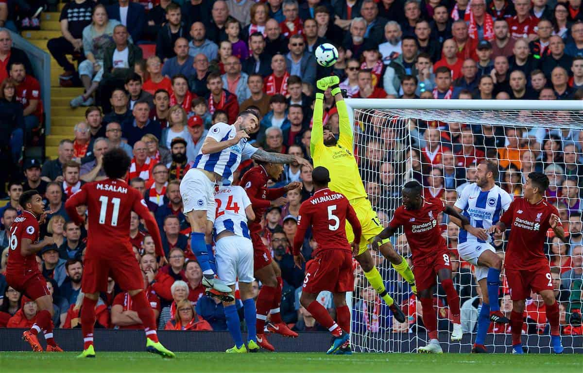 LIVERPOOL, ENGLAND - Saturday, August 25, 2018: Liverpool's goalkeeper Alisson Becker during the FA Premier League match between Liverpool FC and Brighton & Hove Albion FC at Anfield. (Pic by David Rawcliffe/Propaganda)