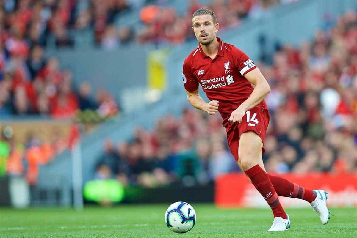 LIVERPOOL, ENGLAND - Saturday, August 25, 2018: Liverpool's captain Jordan Henderson during the FA Premier League match between Liverpool FC and Brighton & Hove Albion FC at Anfield. (Pic by David Rawcliffe/Propaganda)
