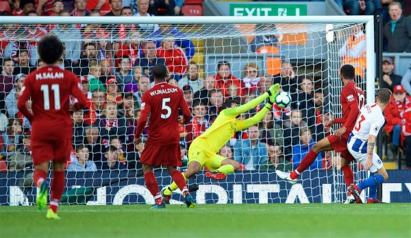 LIVERPOOL, ENGLAND - Saturday, August 25, 2018: Liverpool's goalkeeper Alisson Becker makes a safe2 during the FA Premier League match between Liverpool FC and Brighton & Hove Albion FC at Anfield. (Pic by David Rawcliffe/Propaganda)
