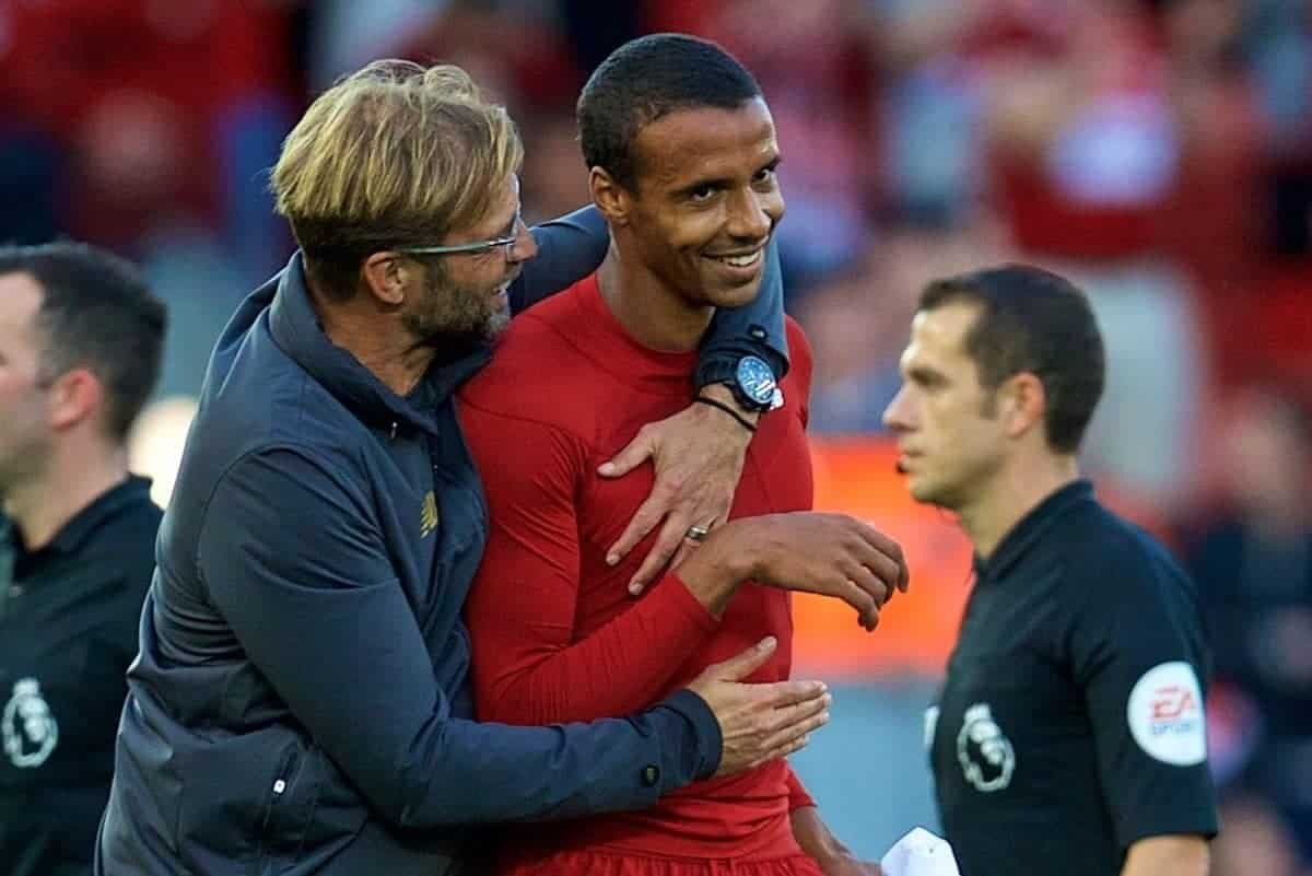 LIVERPOOL, ENGLAND - Saturday, August 25, 2018: Liverpool's manager J¸rgen Klopp and Joel Matip celebrates after the 1:0 victory at the FA Premier League match between Liverpool FC and Brighton & Hove Albion FC at Anfield. (Pic by David Rawcliffe/Propaganda)