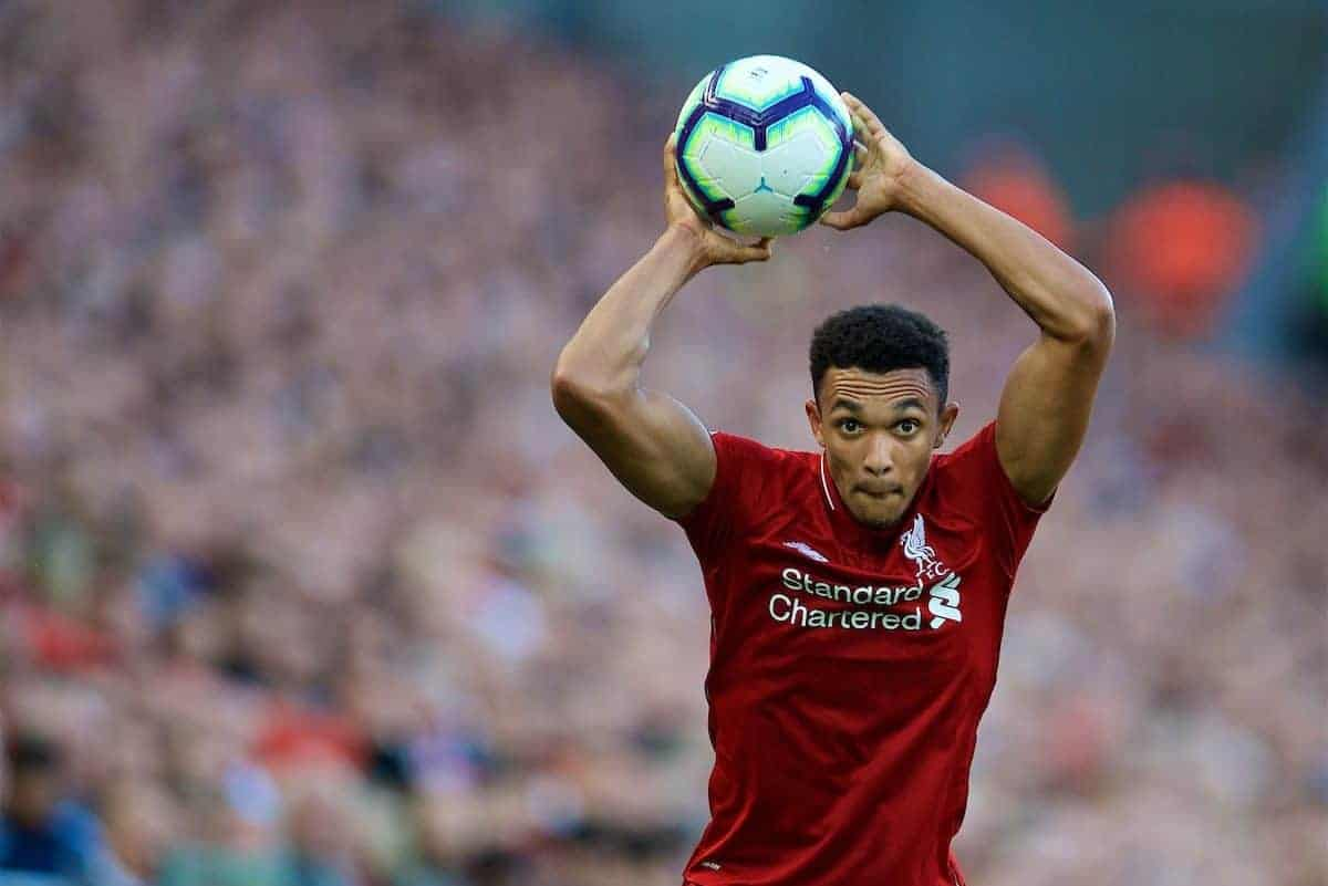 LIVERPOOL, ENGLAND - Saturday, August 25, 2018: Liverpool's Trent Alexander-Arnold takes a throw-in during the FA Premier League match between Liverpool FC and Brighton & Hove Albion FC at Anfield. (Pic by David Rawcliffe/Propaganda)