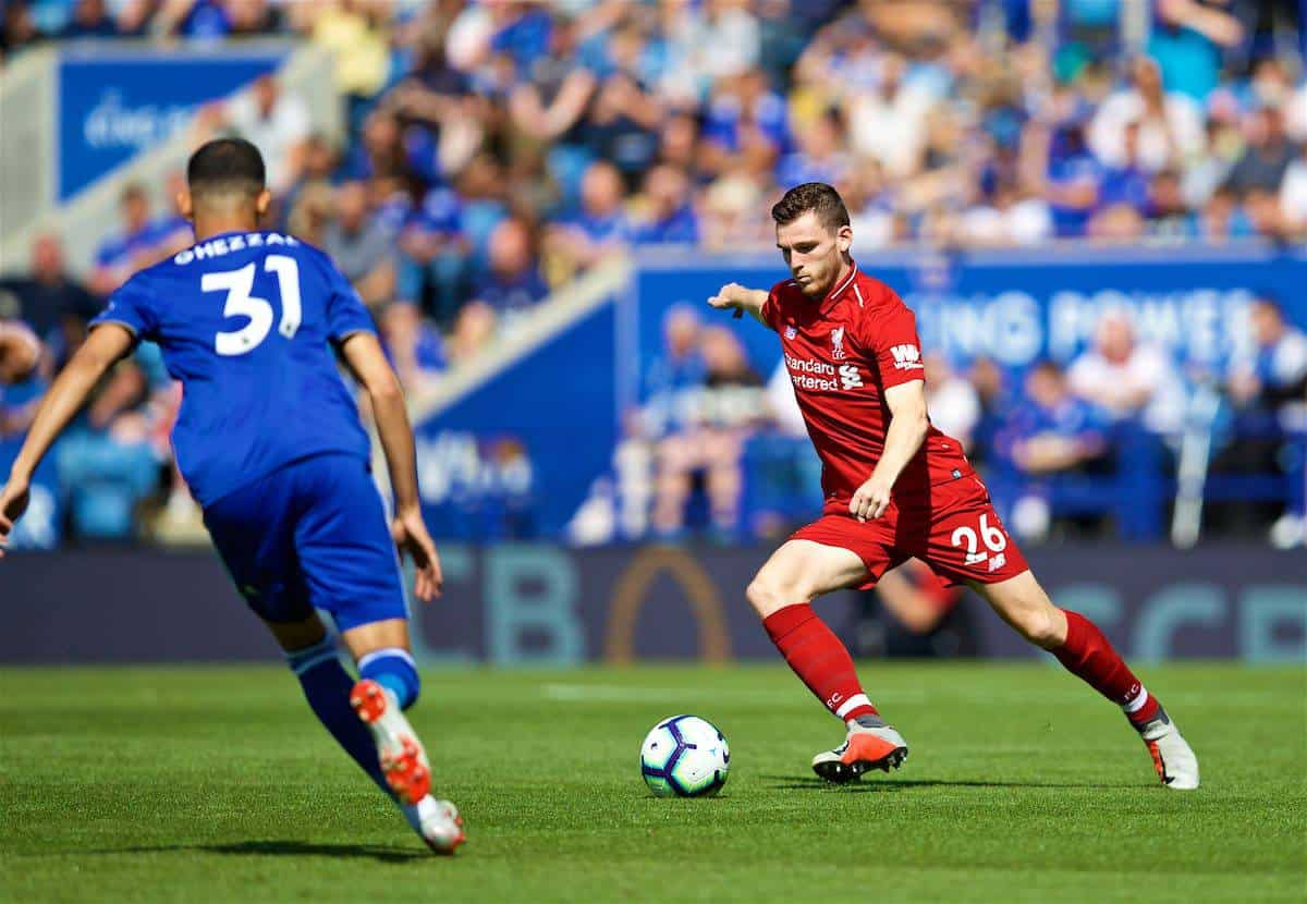 LEICESTER, ENGLAND - Saturday, September 1, 2018: Liverpool's Andy Robertson during the FA Premier League match between Leicester City and Liverpool at the King Power Stadium. (Pic by David Rawcliffe/Propaganda)