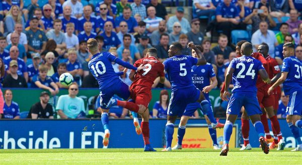 LEICESTER, ENGLAND - Saturday, September 1, 2018: Liverpool's Roberto Firmino scores the second goal with a header during the FA Premier League match between Leicester City and Liverpool at the King Power Stadium. (Pic by David Rawcliffe/Propaganda)
