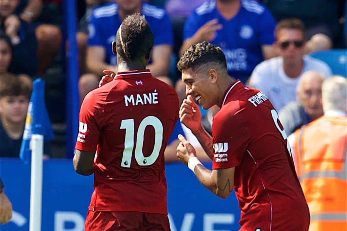 LEICESTER, ENGLAND - Saturday, September 1, 2018: Liverpool's Roberto Firmino (right) celebrates scoring the second goal with team-mate Sadio Mane (left) during the FA Premier League match between Leicester City and Liverpool at the King Power Stadium. (Pic by David Rawcliffe/Propaganda)