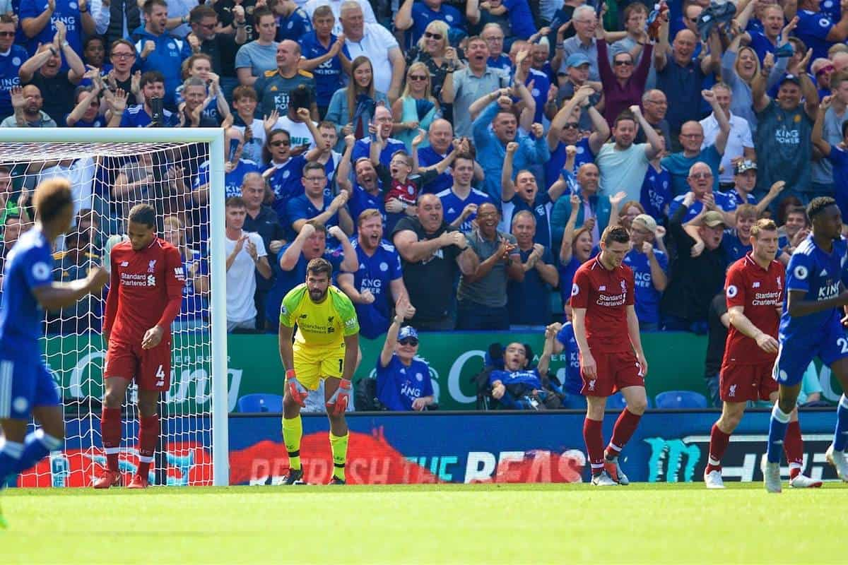 LEICESTER, ENGLAND - Saturday, September 1, 2018: Liverpool's goalkeeper Alisson Becker looks dejected after conceding a goal to Leicester City during the FA Premier League match between Leicester City and Liverpool at the King Power Stadium. (Pic by David Rawcliffe/Propaganda)
