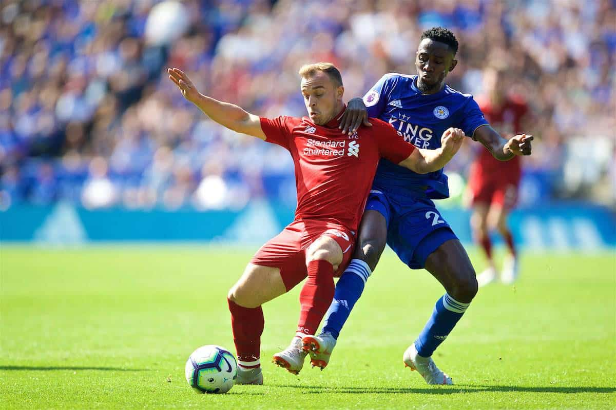 LEICESTER, ENGLAND - Saturday, September 1, 2018: Liverpool's Xherdan Shaqiri and Leicester City's Danny Simpson during the FA Premier League match between Leicester City and Liverpool at the King Power Stadium. (Pic by David Rawcliffe/Propaganda)
