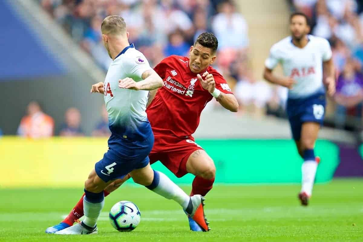 LONDON, ENGLAND - Saturday, September 15, 2018: Liverpool's Roberto Firmino (right) and Tottenham Hotspur's Toby Alderweireld (left) during the FA Premier League match between Tottenham Hotspur FC and Liverpool FC at Wembley Stadium. (Pic by David Rawcliffe/Propaganda)