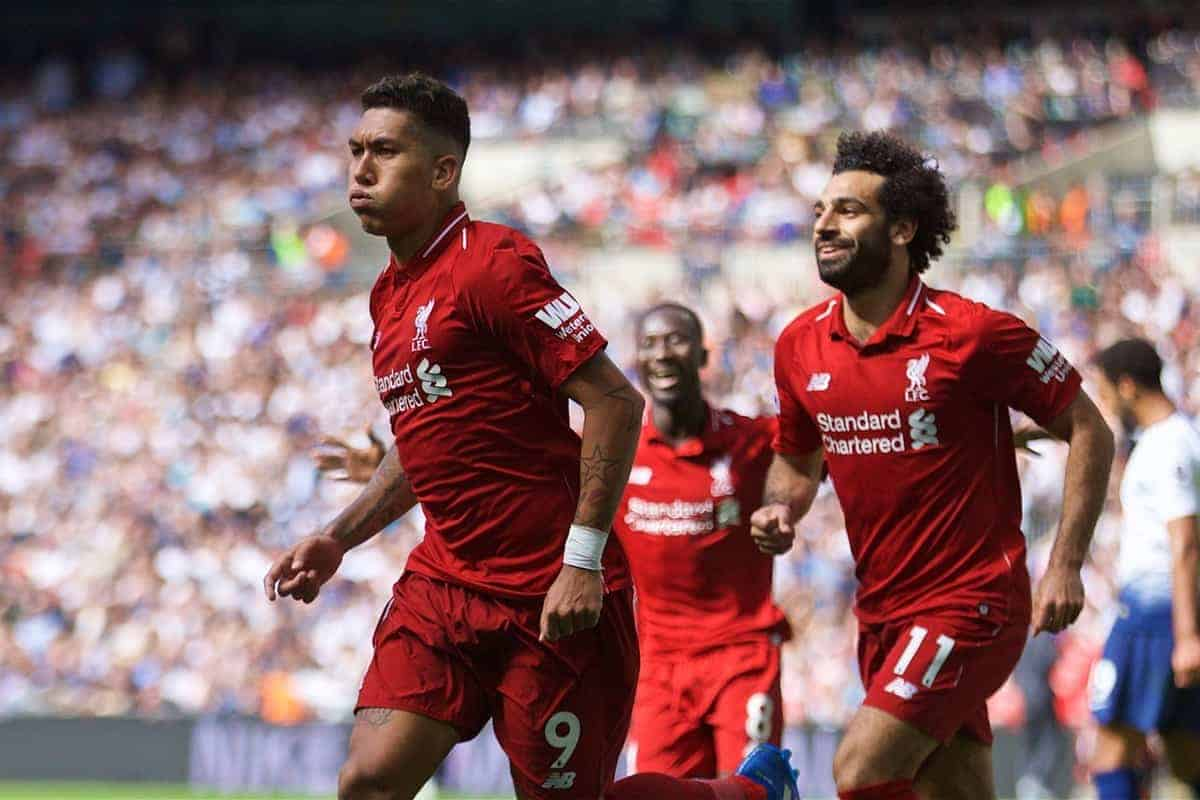 LONDON, ENGLAND - Saturday, September 15, 2018: Liverpool's Roberto Firmino (right) celebrates scoring the second goal during the FA Premier League match between Tottenham Hotspur FC and Liverpool FC at Wembley Stadium. (Pic by David Rawcliffe/Propaganda)