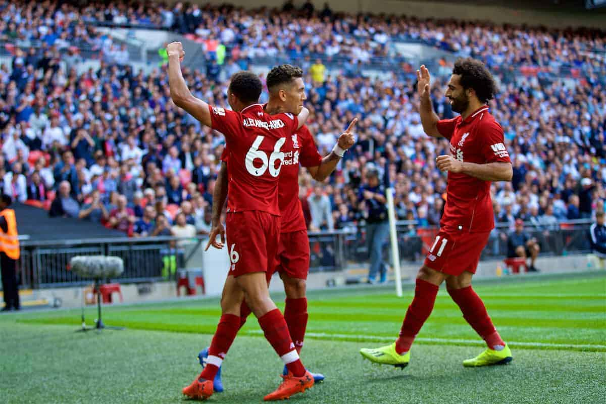 LONDON, ENGLAND - Saturday, September 15, 2018: Liverpool's Roberto Firmino (right) celebrates scoring the second goal with team-mates during the FA Premier League match between Tottenham Hotspur FC and Liverpool FC at Wembley Stadium. (Pic by David Rawcliffe/Propaganda)
