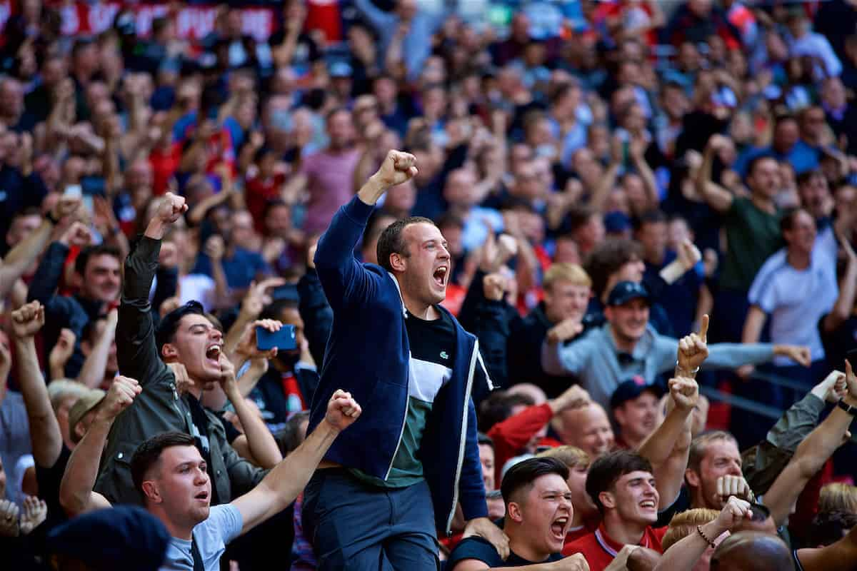 LONDON, ENGLAND - Saturday, September 15, 2018: Liverpool supporters celebrate the second goal during the FA Premier League match between Tottenham Hotspur FC and Liverpool FC at Wembley Stadium. (Pic by David Rawcliffe/Propaganda)